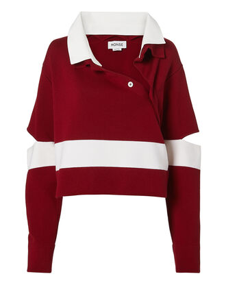 Stripe Polo Sweater, RED-DRK, hi-res