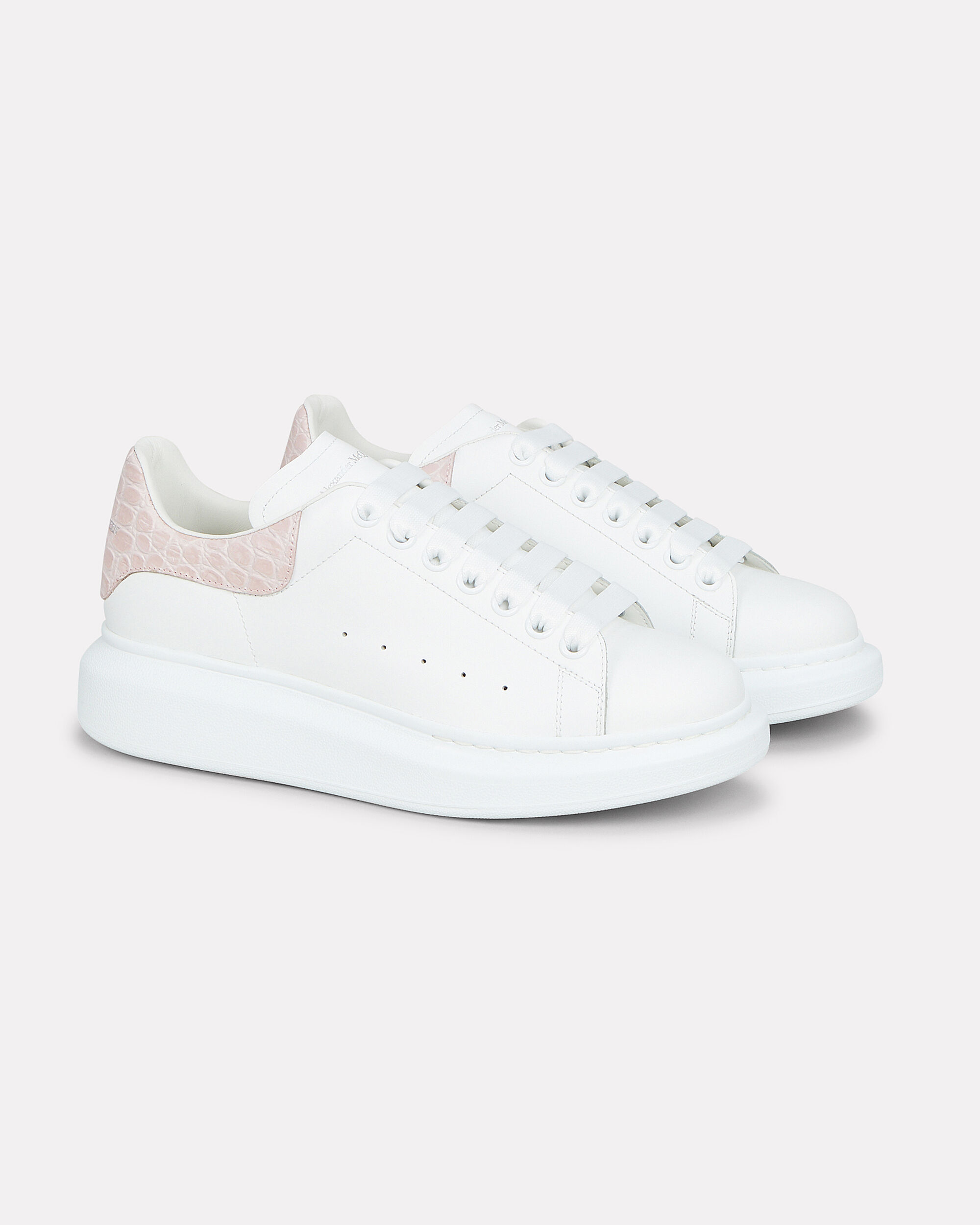 Oversized Pink Back Leather Sneakers, WHITE/PINK, hi-res