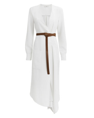 Wrap Midi Dress, WHITE, hi-res