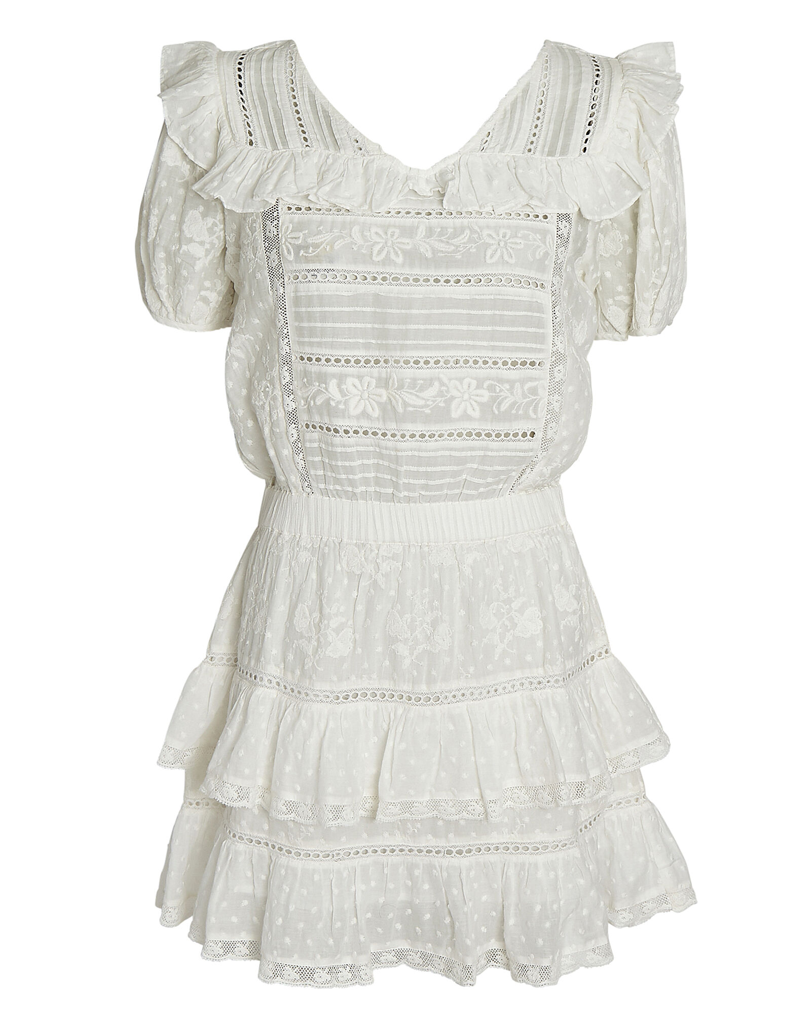 Sorelle Embroidered Mini Dress, WHITE, hi-res
