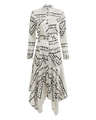 Silk Stretch Satin Egret Print Midi Dress, IVORY, hi-res
