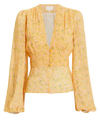 Yellow Floral Peasant Blouse, YELLOW/FLORAL, hi-res