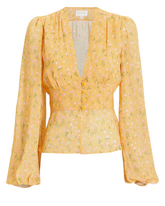 Floral Peasant Blouse, YELLOW/FLORAL, hi-res