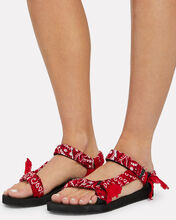 Trekky Bandana Knotted Sandals, RED, hi-res