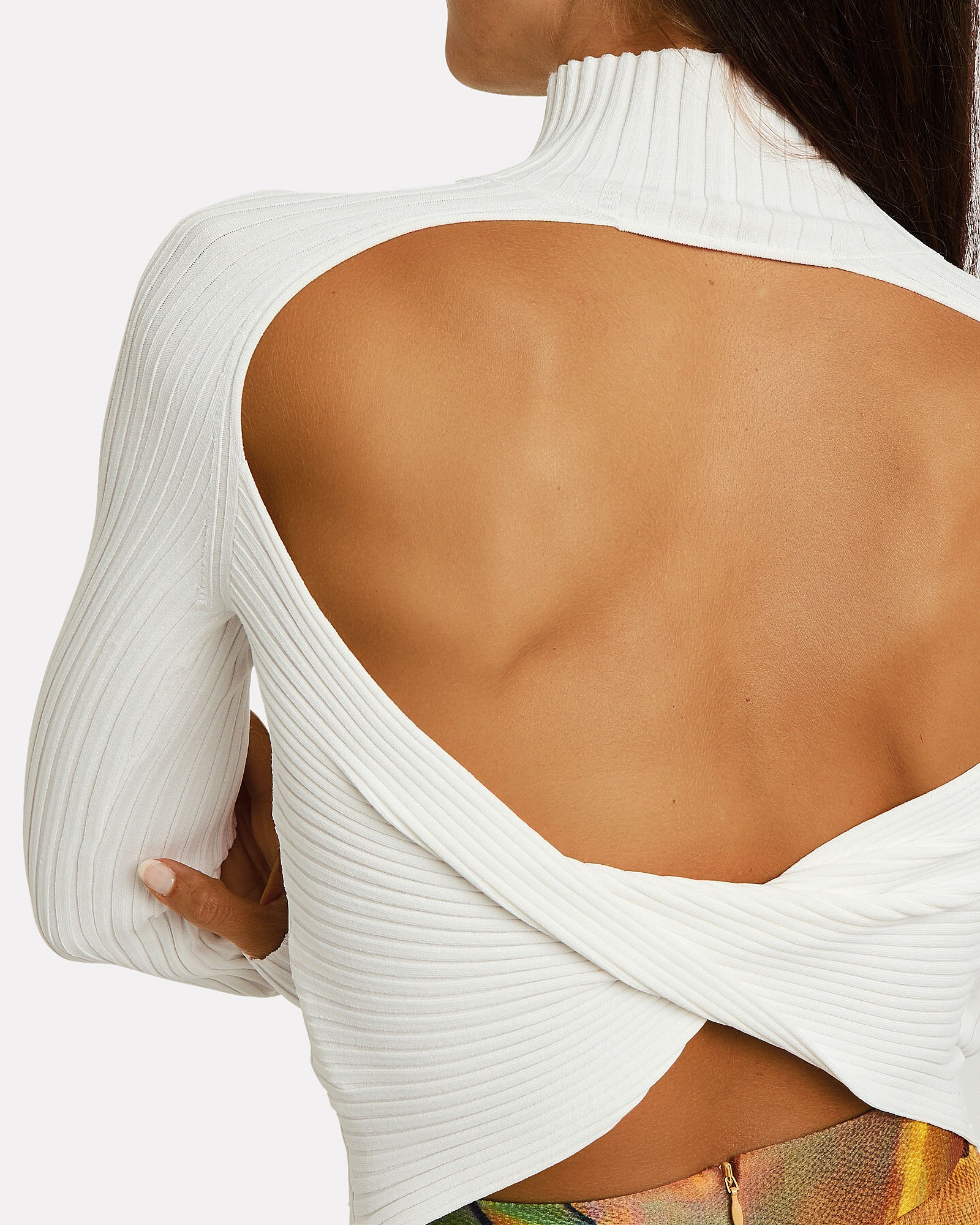 Twist Back Knit Top, IVORY, hi-res