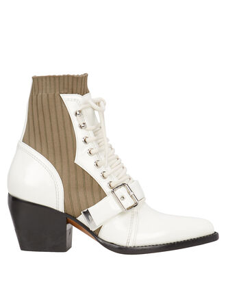 Rylee Ribbed Sock Ankle Boots, WHITE/GREEN, hi-res