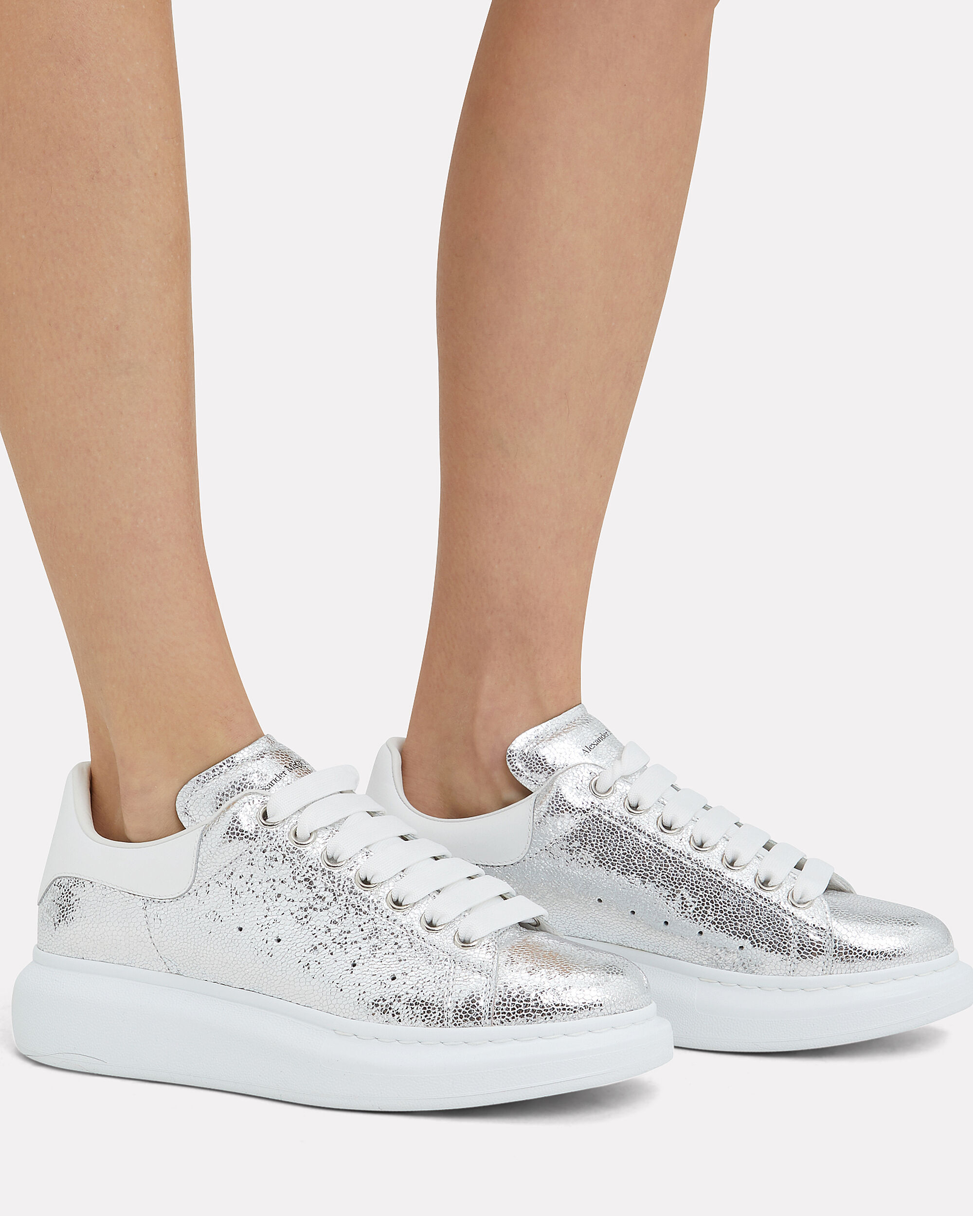 Cracked Silver Platform Sneakers, SILVER/WHITE, hi-res