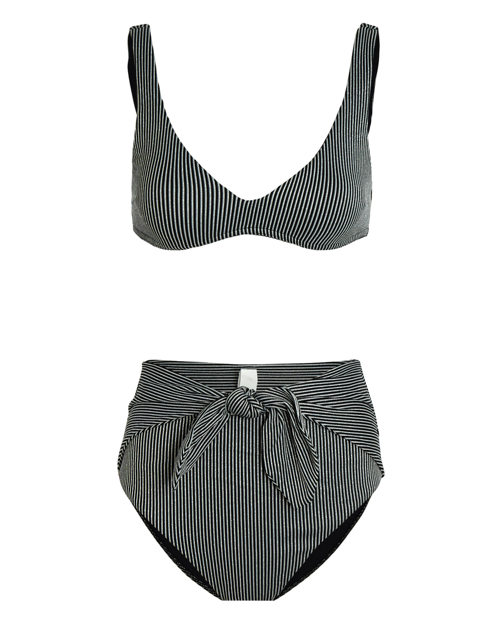 Bellitude Striped Tie Bikini Set, BLACK/SILVER, hi-res