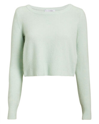 Julia Wool & Cashmere Cropped Sweater, GREEN, hi-res