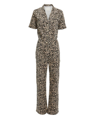 Kayla Leopard Jumpsuit, BROWN, hi-res