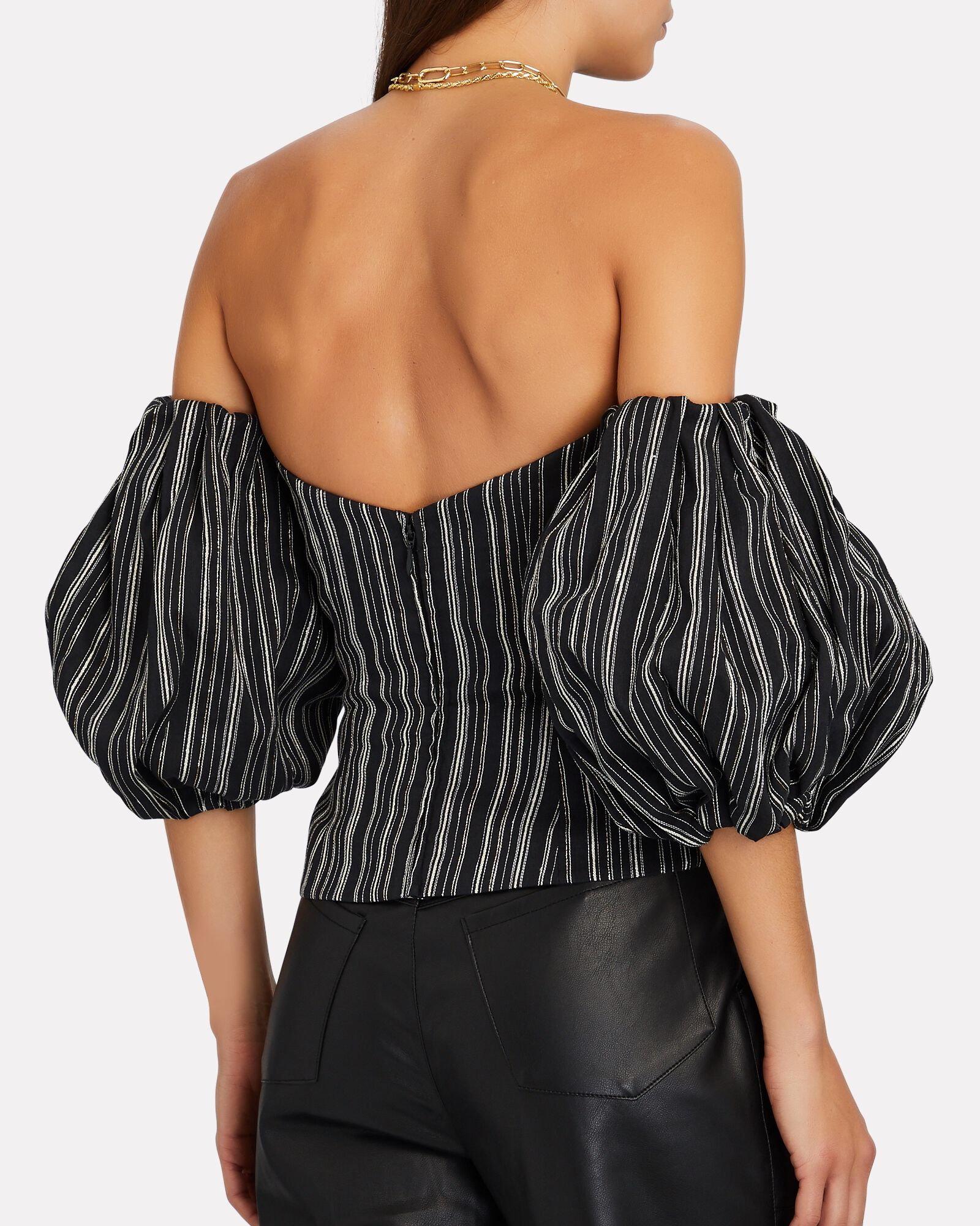 Striped Linen Off-The-Shoulder Top, BLACK, hi-res