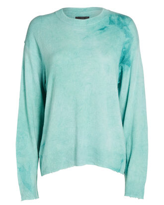 Emma Boxy Tie-Dye Cashmere Sweater, LIGHT GREEN/BLUE, hi-res