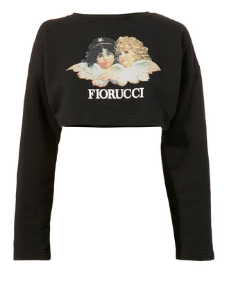 Vintage Angels Cropped Sweatshirt, BLACK, hi-res