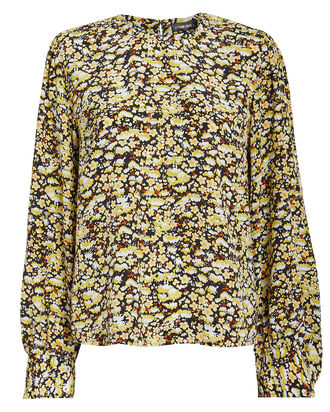 Karolina Meadow Floral Silk Blouse, MULTI, hi-res