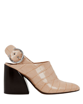 Closed Toe Leather Mules, BEIGE, hi-res