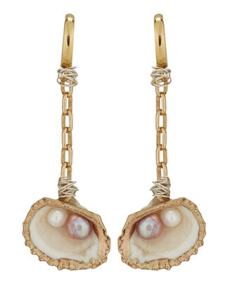 Drop It Like It's Hot Shell Earring, GOLD, hi-res