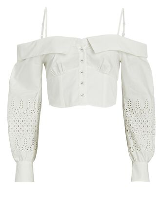 Broderie Anglaise Off-the-Shoulder Top, WHITE, hi-res