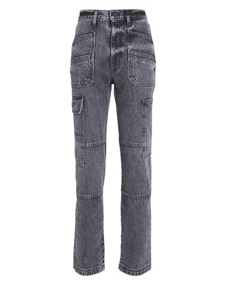 Savior High-Rise Cargo Jeans, BLACK WASH DENIM, hi-res