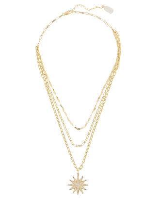 Layered Pavé Starburst Necklace, GOLD, hi-res