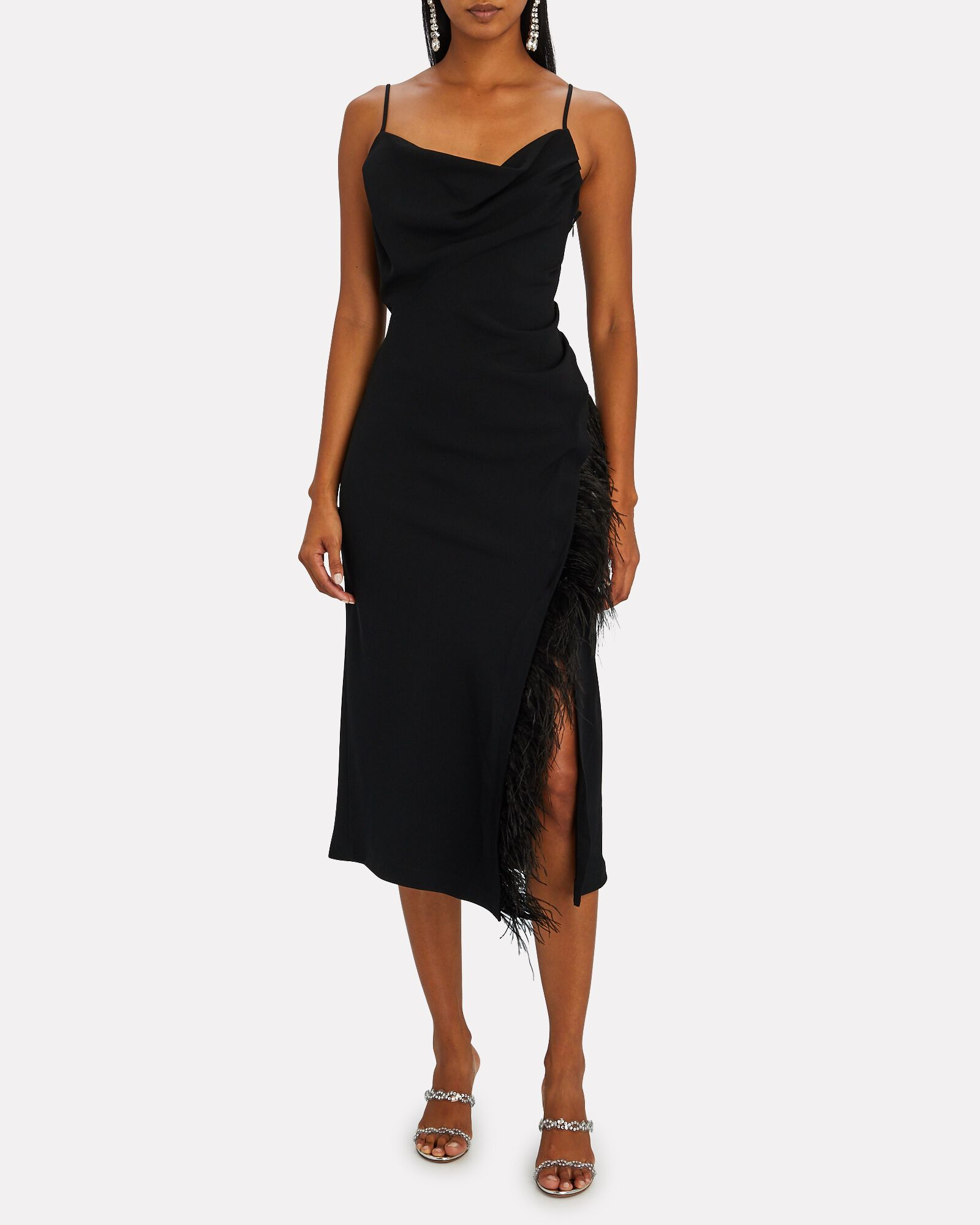 Nellie Feather-Trimmed Midi Dress, BLACK, hi-res