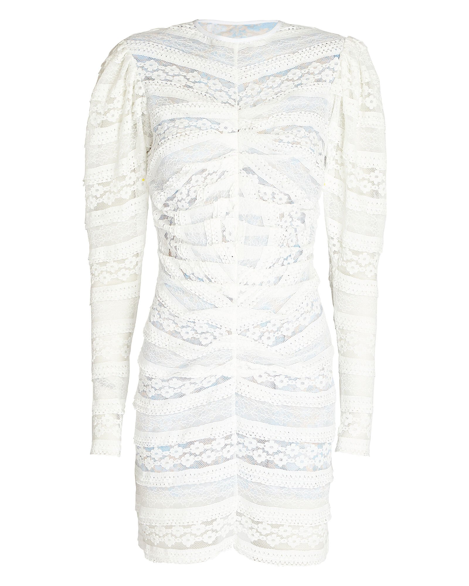 Alva Lace Puff Sleeve Dress, WHITE, hi-res