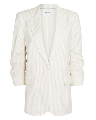 Boyfriend Pleated Stripe Blazer, IVORY/LIGHT GREY, hi-res
