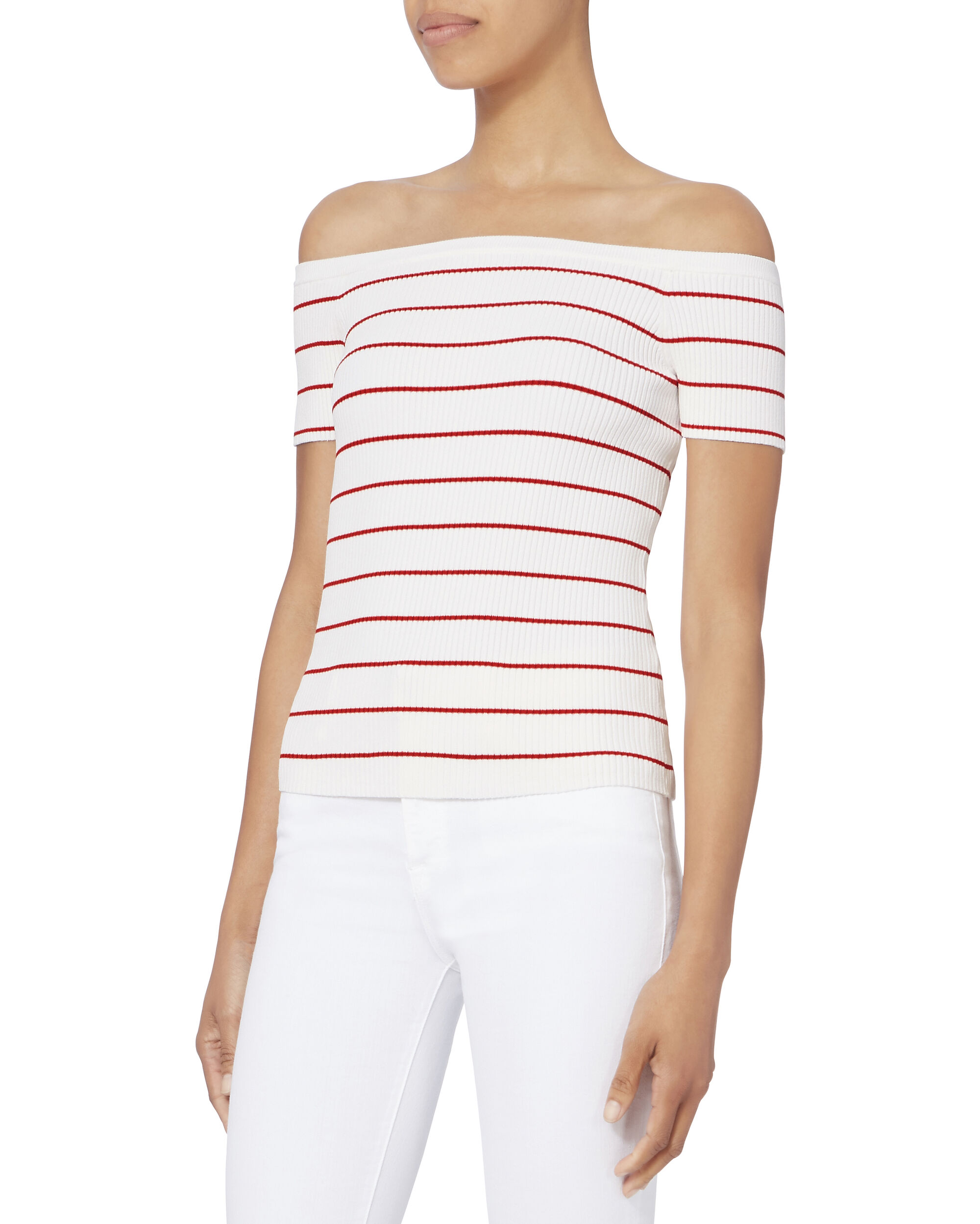 Ariana Off Shoulder Striped Knit Top, PATTERN, hi-res