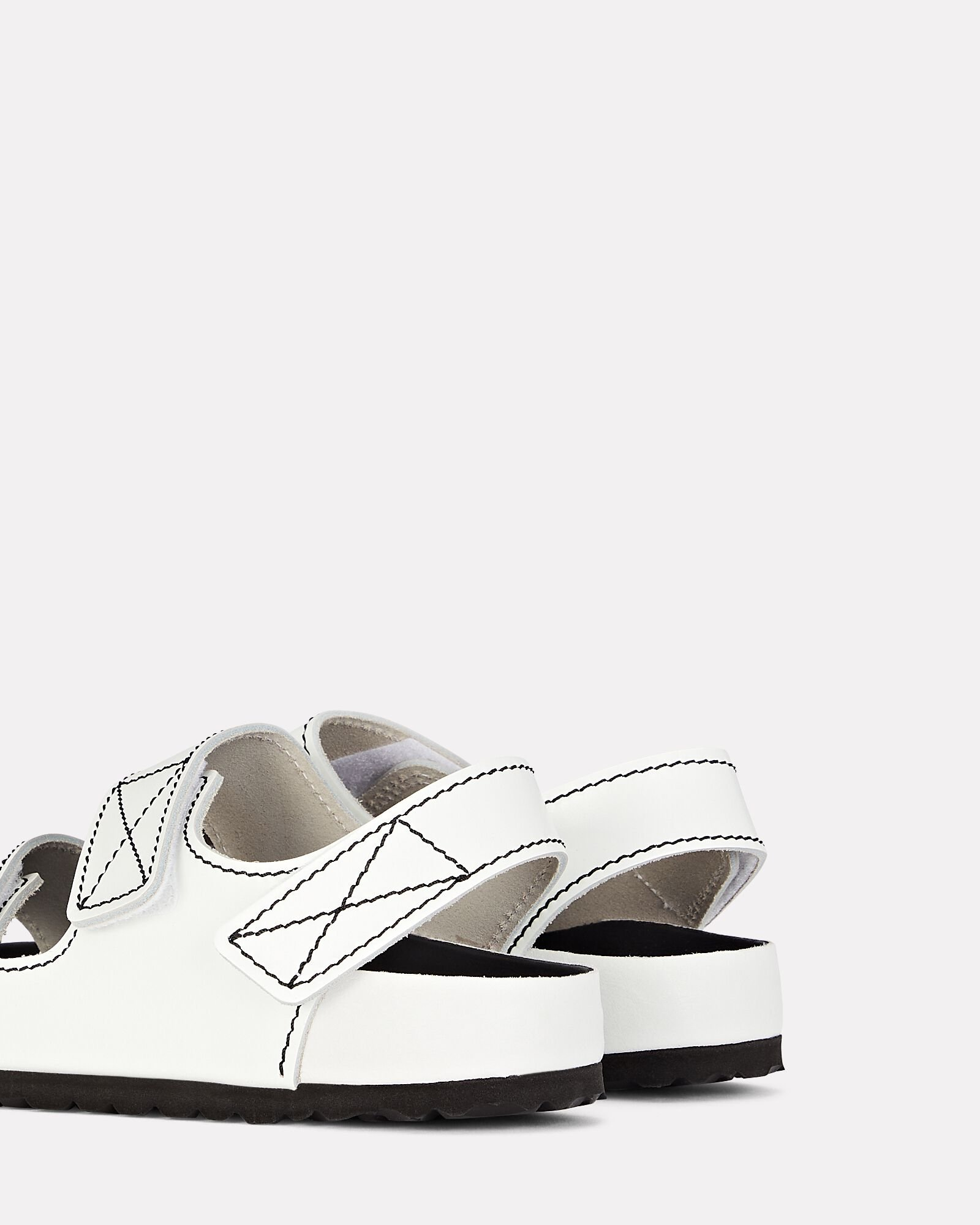 Milano Flat Leather Sandals, WHITE, hi-res