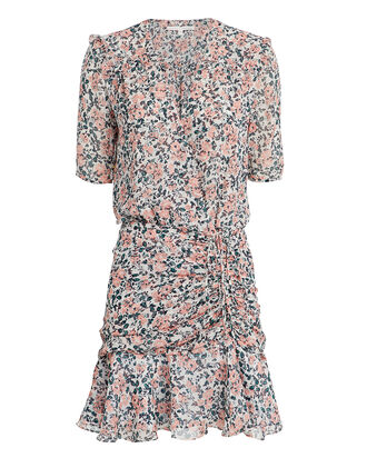 Dakota Chiffon Gardenia Mini Dress, WHITE/PINK FLORAL, hi-res