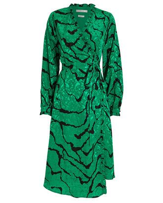 AylinGZ Wrap Dress, EMERALD/BLACK, hi-res