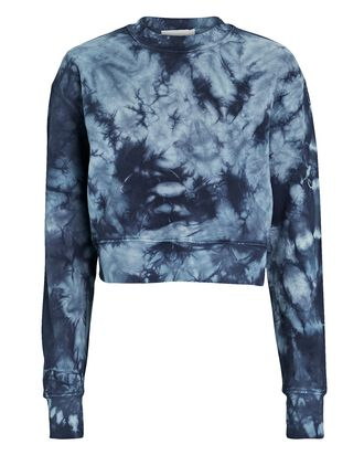 Cropped Tie-Dye Sweatshirt, BLUE, hi-res