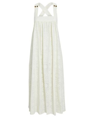 Laura Embroidered Cotton Midi Dress, IVORY, hi-res