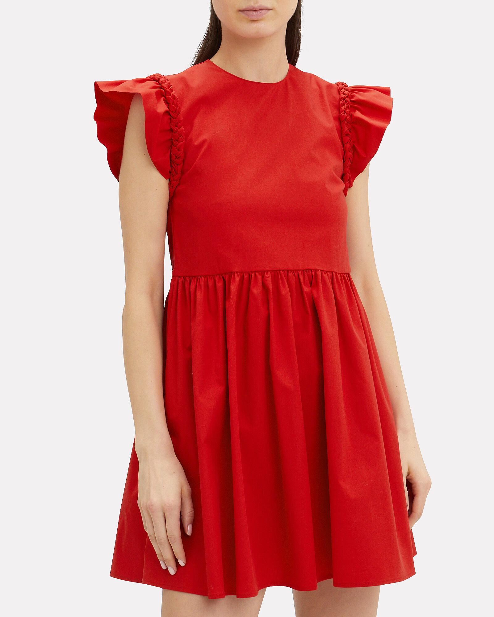 Puff Sleeve Cotton Mini Dress, RED, hi-res