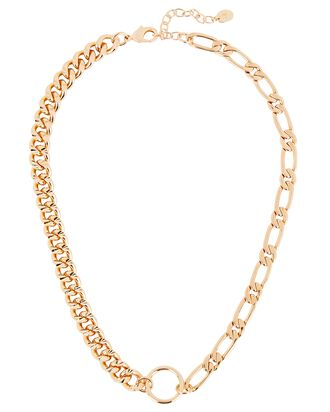 Asymmetric Chain Ring Necklace, GOLD, hi-res