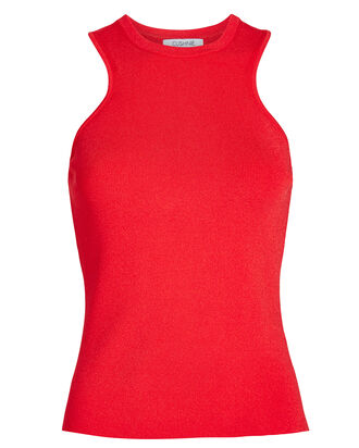 Racerback Rib Knit Tank, RED, hi-res