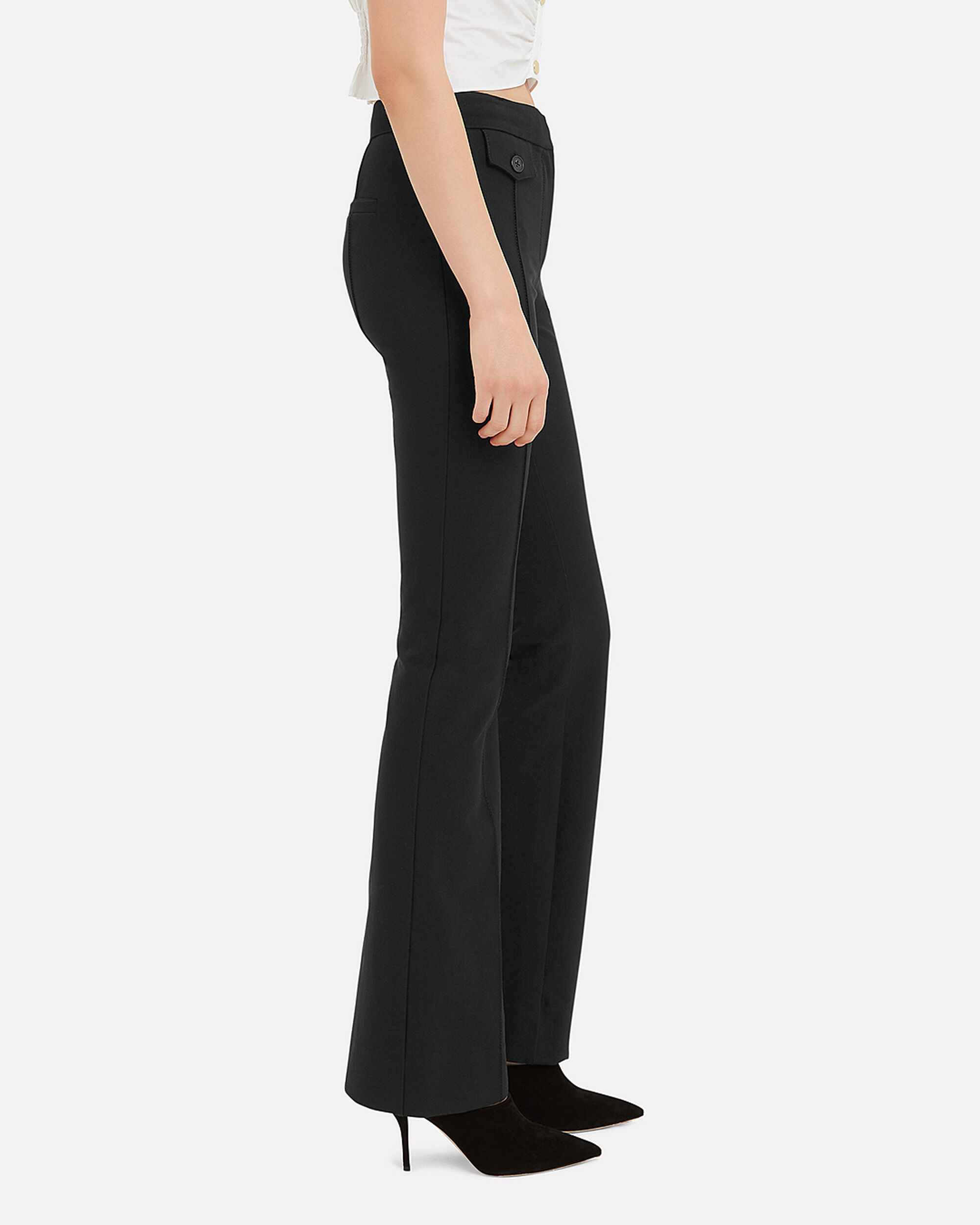 Pocket Detail Flare Trousers, BLACK, hi-res