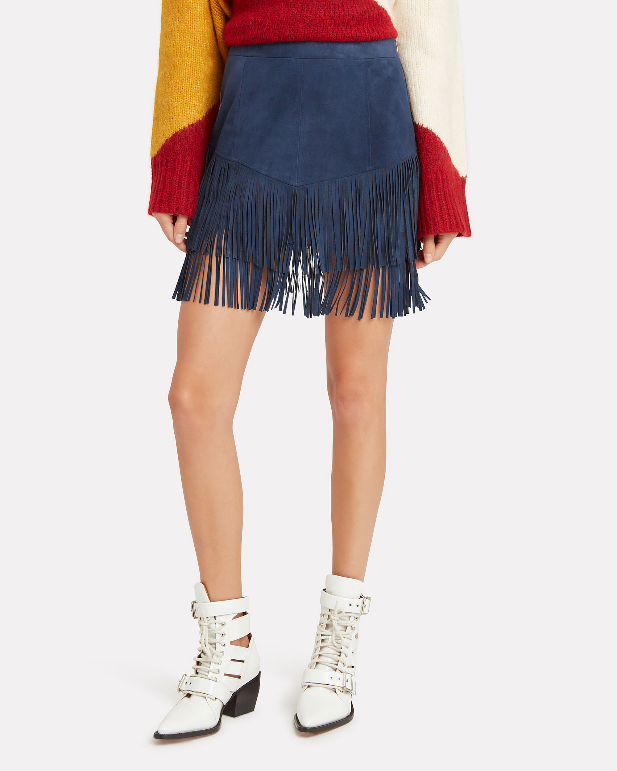 Maris Fringe Suede Skirt, BLUE-DRK, hi-res