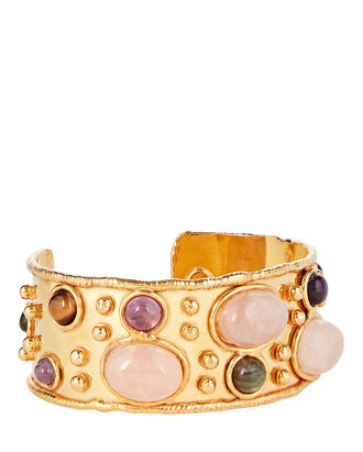 Byzantine Rose Quartz Cuff, ROSE/GOLD, hi-res