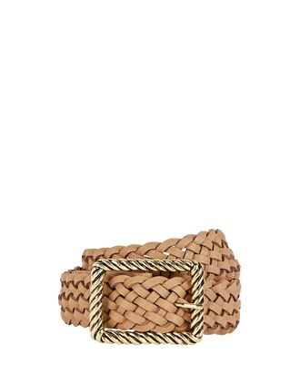 Janelle Braided Leather Buckle Belt, BEIGE, hi-res