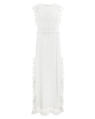 Pom Fringe Coverup Maxi Dress, WHITE, hi-res