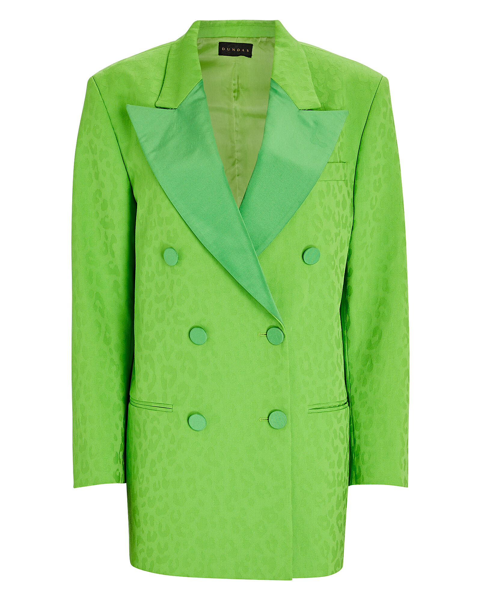 Double-Breasted Leopard Jacquard Blazer, GREEN, hi-res