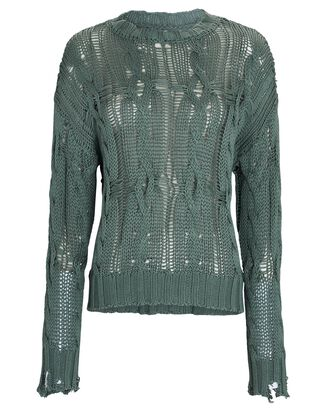 Mitzy Distressed Cable Knit Sweater, GREEN, hi-res
