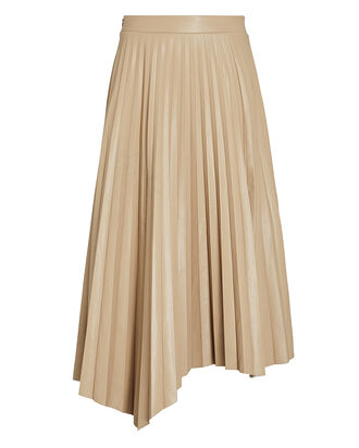 Jayla Pleated Vegan Leather Skirt, BEIGE, hi-res