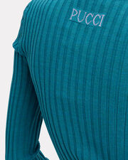 Lurex Cuff Blue Knit Top, BLUE-MED, hi-res