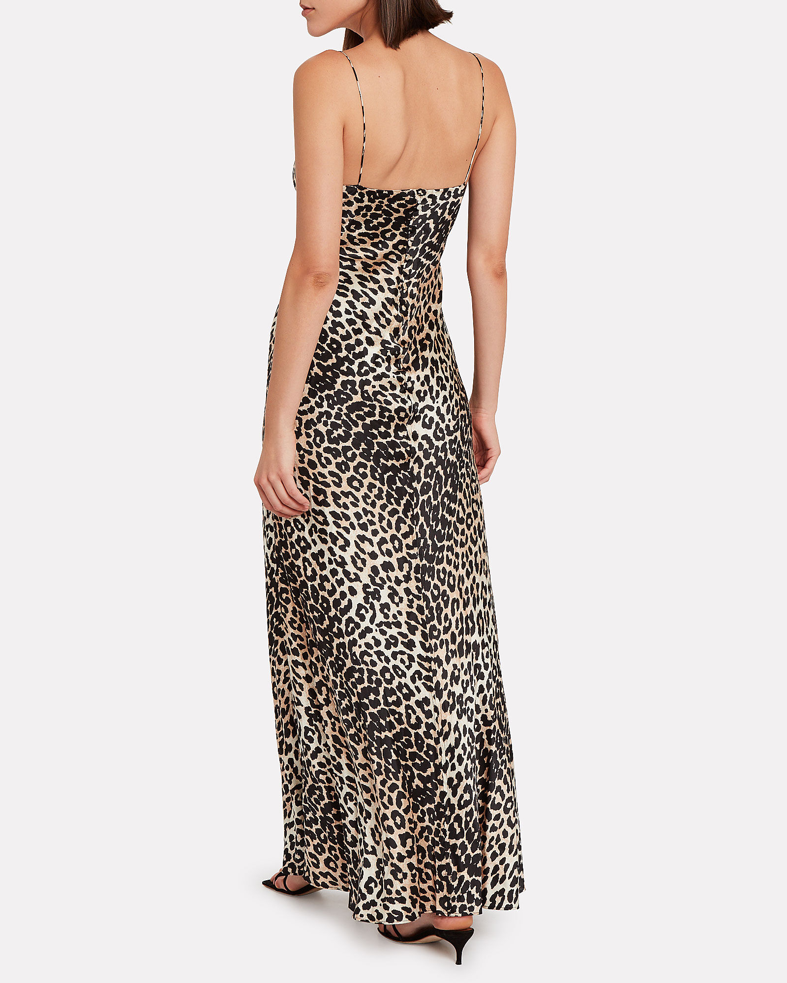 Leopard Print Silk Maxi Dress, BROWN/LEOPARD, hi-res