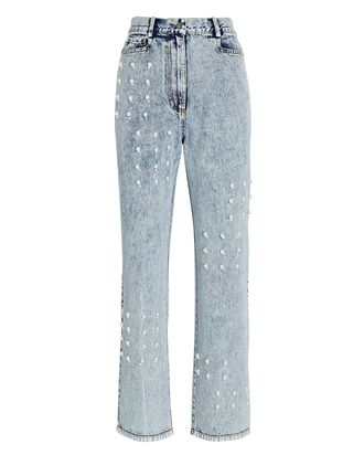 Betty Pearl-Embellished Jeans, ACID WASH DENIM, hi-res