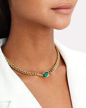 Chunky Gem Chain-Link Choker Necklace, GREEN, hi-res