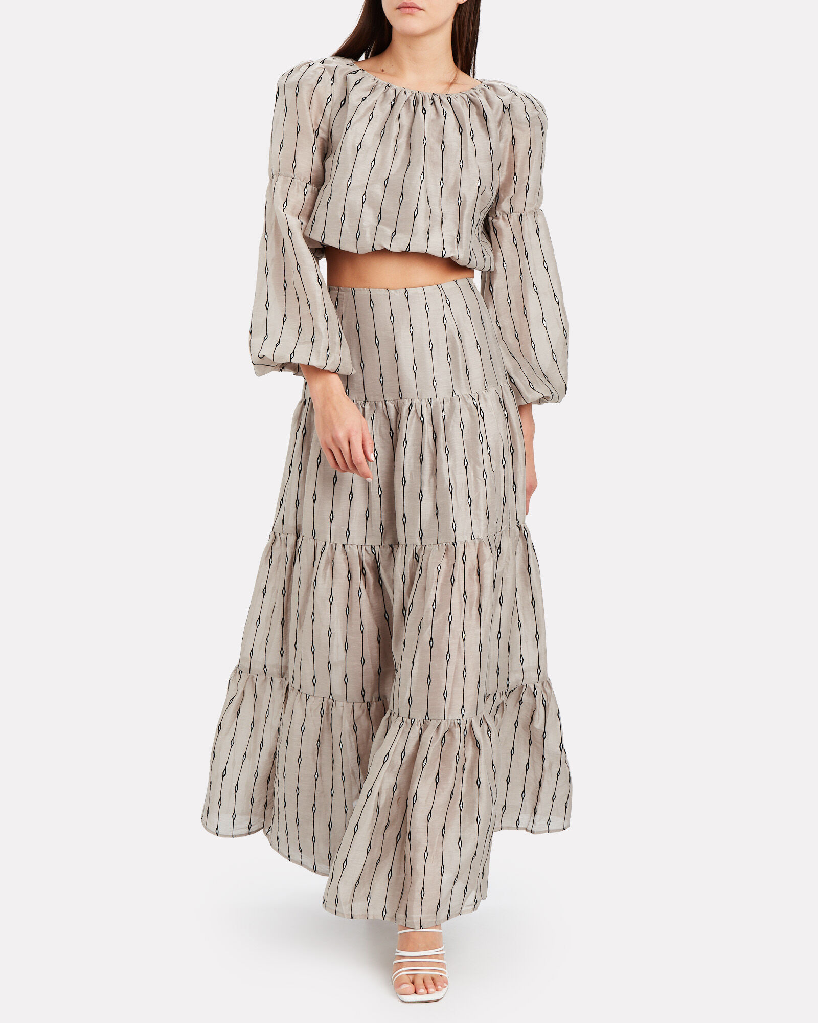 Carry On Tiered Maxi Skirt, GREY, hi-res