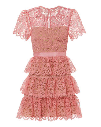 Pink Tiered Lace Mini Dress, MULTI, hi-res