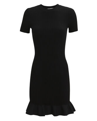 Flared Hem Ribbed Knit Dress, BLACK, hi-res